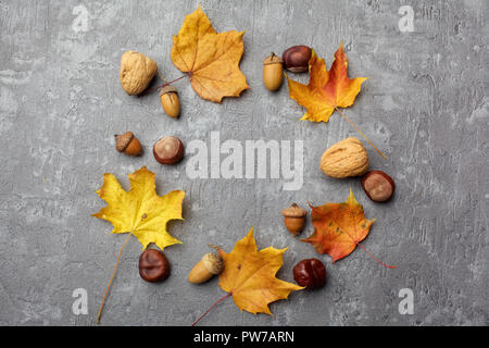 Wreath of autumn leaves and acorns on the grey background, flat lay - Stock Photo