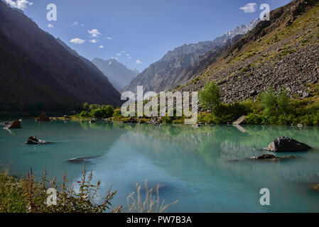 Beautiful view from the Jizeu River Valley, Bartang Valley, Tajikistan - Stock Photo