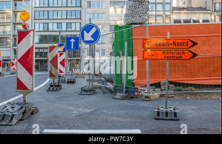 Road works in the center of  Antwerp resulting in heavy traffic disruptions - Stock Photo