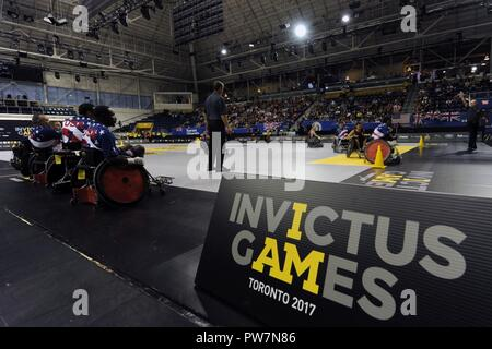 Team U.S. plays against Team Ontario in wheelchair rugby during the 2017 Invictus Games at the Mattamy Athlethics Centre in Toronto, Canada, September 27, 2017. The Invictus Games are the sole international adaptive sporting event for injured active duty and veteran service members.