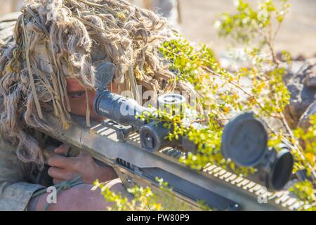 U.S. Marine Corps Lance Cpl. Joseph Starr, a gunman with Regimental Surveillance and Target Acquisition Company (RSTAC), 1st Marine Division, provides surveillance during a field operation at Fort Irwin, Calif., Oct. 2, 2017. RSTAC is an experimental company designed to build proficiency in scout sniper operations for service level exercises. - Stock Photo