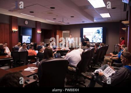 New volunteers for the Blue Roof Program receive training in Atlanta in a South Atlantic Division, conference room. Volunteers were preparing to deploy in support of hurricane relief to the U.S. Virgin Islands, on September 24, 2017. - Stock Photo