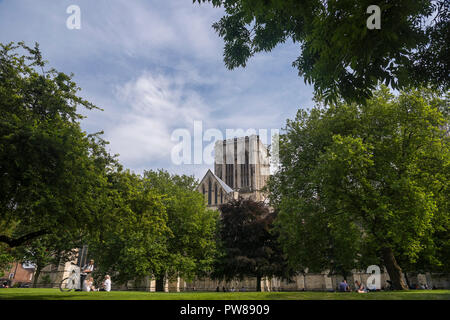 Minster towers over people sitting on lawn under trees & blue sky, relaxing in summer sun in scenic Dean's Garden York - North Yorkshire, England, UK. - Stock Photo