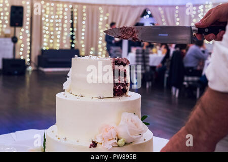 Groom cuts the multitiered white mastic wedding cake in a banquet hall background. Wedding cake is cut with knife by a man. cake ornament. Moment of c - Stock Photo