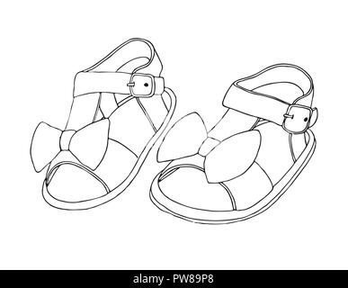 bf658bc2a78ba Sketch of children's sandals for girls. Vector illustration. - Stock Photo