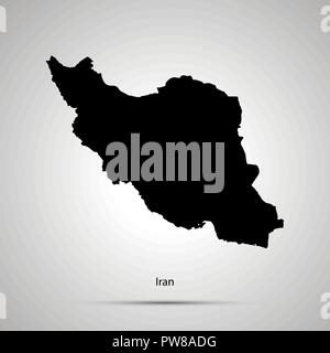 Iran country map, simple black silhouette on gray - Stock Photo