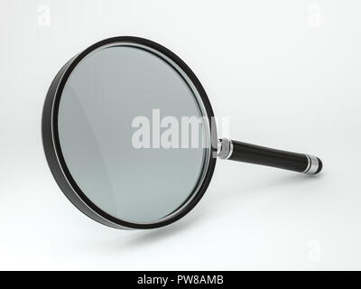 Magnifying glass isolated on white background. 3D rendering - Stock Photo