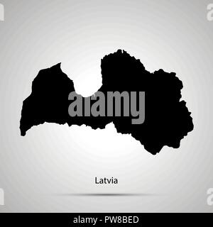 Latvia country map, simple black silhouette on gray - Stock Photo