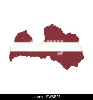 Latvia country silhouette with flag on background, isolated on white - Stock Photo