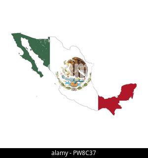Mexico country silhouette with flag on background, isolated on white - Stock Photo