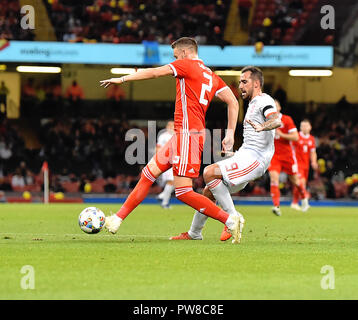 Wales Chris Gunter tackled by Pacp Alcacer during the Wales v Spain Friendly Football at Principalty Stadium Cardiff Wales on October 13 2018 Graham / - Stock Photo