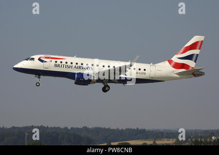 BA Cityflyer ERJ-170 with registration G-LCYD on short final for runway 14 of Zurich Airport. - Stock Photo
