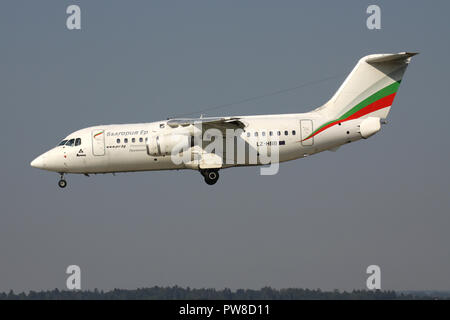 Bulgaria Air BAe 146-200 with registration LZ-HBB on short final for runway 14 of Zurich Airport. - Stock Photo