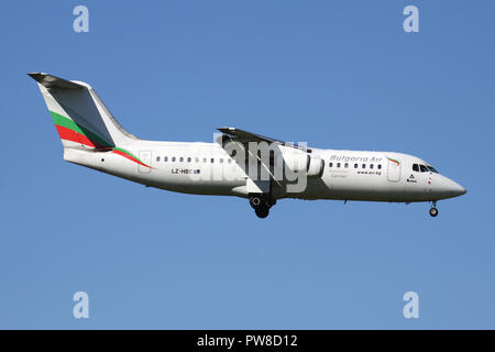 Bulgaria Air BAe 146-300 with registration LZ-HBE on short final for runway 14 of Zurich Airport. - Stock Photo