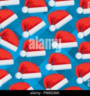 santa claus hats pattern - Stock Photo