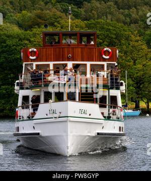 MV Teal,Windermere Lake Cruises, arriving at Ambleside,Lake district,Cumbria,England,UK - Stock Photo