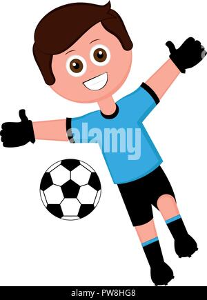 Soccer goalkeeper with a soccer ball - Stock Photo