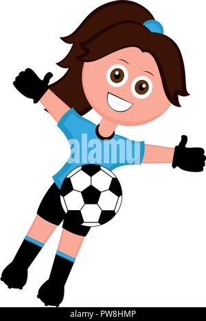 Female soccer goalkeeper with a soccer ball - Stock Photo