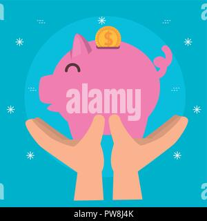 hands with piggy money charity donation - Stock Photo