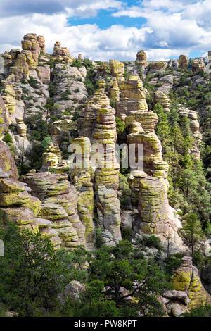 Rhyolite hoodoos, Chiricahua National Mounument, Arizona - Stock Photo