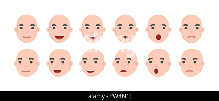 Set of male emoji characters. Emotion icons in cartoon style . Mens avatars with different facial expressions. - Stock Photo
