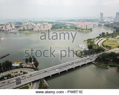 Drone aerial landscape of the Kallang River and surrounding buildings, captured at Kallang, Singapore.   Image captured on 2nd April 2018. - Stock Photo