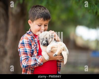 child is hugging a little puppy. Kids love animals - Stock Photo