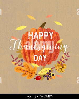 Happy Thanksgiving day card design. Composition of plants, leaves and pumpkin. Autumn greeting card. - Stock Photo