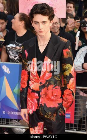London, UK. 13th October 2018. Timothee Chalamet,'Beautiful Boy' European Premiere,BFI London Film Festival, Cineworld Leicester Square,London Credit: michael melia/Alamy Live News - Stock Photo