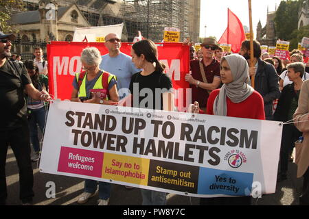London, UK. 13th October, 2018. A counter protest organised by campaign group Stand Up To Racism included a march and rally in Whitehall. Various groups took part . The purpose of the protest was to prevent the far right group DFLA (Democratic Football Lads Alliance) from marching through Whitehall and past Parliament. Roland Ravenhill/Alamy Live News - Stock Photo