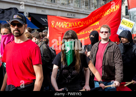 London, UK. 13th October, 2018. Anti-fascist groups including many women from the Feminist Anti-Fascist Assembly march through London in protest against a demonstration by the far-right Democratic Football Lads Alliance (DFLA). Anti-racist groups also held a Unity demonstration to coincide with the DFLA demonstration. Credit: Mark Kerrison/Alamy Live News - Stock Photo