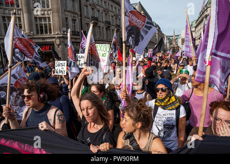 London, UK. 13th October 2018. Demonstration against the DFLA. A coalition of groups marched in London to oppose the far right Democratic Football Lads Alliance (DFLA). The DFLA were also marching on the same day. There was an extensive police presence. Credit: Stephen Bell/Alamy Live News. - Stock Photo