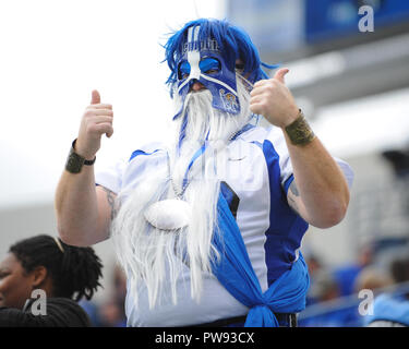 Memphis, TN, USA. 13th Oct, 2018. A Memphis Football fan during the NCAA football game between the Memphis Tigers and the Central Florida Knights at Liberty Bowl Stadium in Memphis, TN. UCF defeated Memphis, 31-30. Kevin Langley/CSM/Alamy Live News - Stock Photo