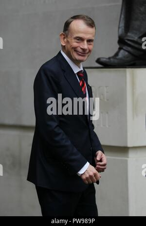 London, UK, Oct 14th 2018. Andrew Marr seen at the BBC studios in London. Credit: WFPA/Alamy Live News - Stock Photo