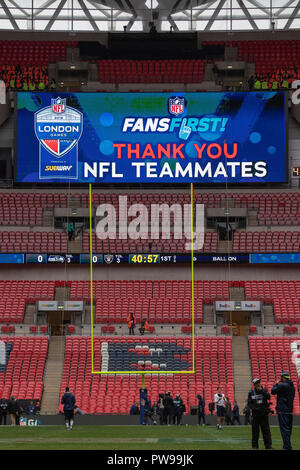 Wembley Stadium, London, UK. 14th Oct, 2018. NFL in London, game one, Seattle Seahawks versus Oakland Raiders; General view of Wembley Stadium Credit: Action Plus Sports/Alamy Live News - Stock Photo