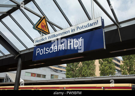 Potsdam, Berlin, Germany: 18th August 2018: Railway Station Sign - Stock Photo