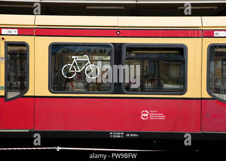 Potsdam, Berlin, Germany: 18th August 2018: S Bahn Train Bicycle Storage sign - Stock Photo