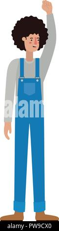 man in overalls with hand up avatar character - Stock Photo