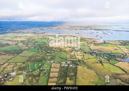 An aerial view of the Cloughanover countyside and Lough Corrib, near Headford in County Galway, Ireland. - Stock Photo