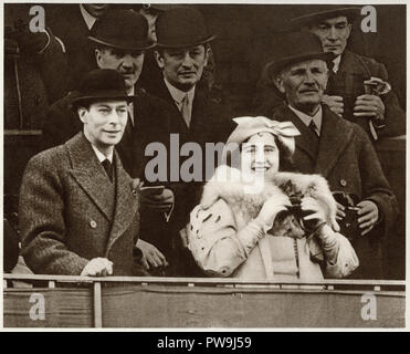 George the sixth with his wife Queen Elizabeth Bowes Lyon at the Grand National horse race in Aintree Liverpool dated March 19th 1937 - Stock Photo