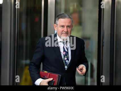Barry Gardiner, Shadow Secretary of State for International Trade, leaves the BBC Studios in Central London after an interview. - Stock Photo