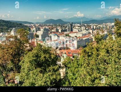 Skyline panorama of Ljubljana capitol of Slovenia - Stock Photo
