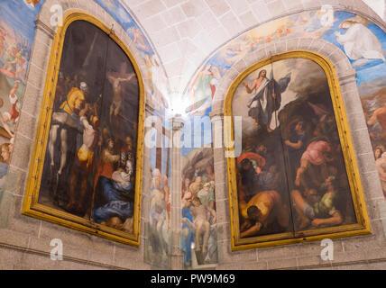 Frescos del claustro del Monasterio de San Lorenzo de El Escorial. Madrid. España - Stock Photo