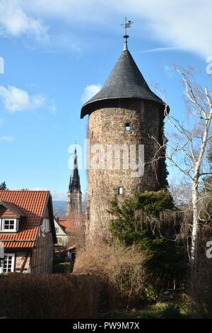 medieval tower in the town of Wernigerode in the Harz - Stock Photo