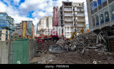 Demolition of city buildings, Manchester, UK. - Stock Photo