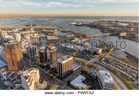 Aerial view of downtown Long Beach, California and shoreline. - Stock Photo