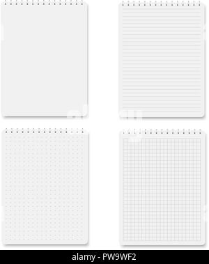 Set of realistic square, lined paper blank sheets isolated. Vector. - Stock Photo