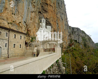 The Monastery of Ostrog, Incredible Sacred Place in the Cliff, Niksic, Montenegro, Balkans, Europe - Stock Photo