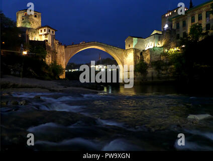 The Old Bridge over the Neretva River at Night, the Historic Town of Mostar, Bosnia and Herzegovina, Balkans, Europe - Stock Photo