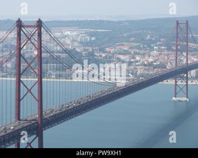 Lisbon Portugal Ponte de Abril Bridge Daytime Landscape
